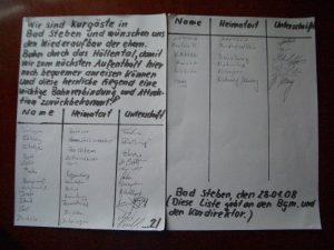 Unterschriftenliste 28.01.2008 Kurgäste Bad Steben